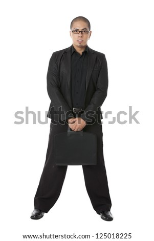 Portrait against businessman holding a black bag white background