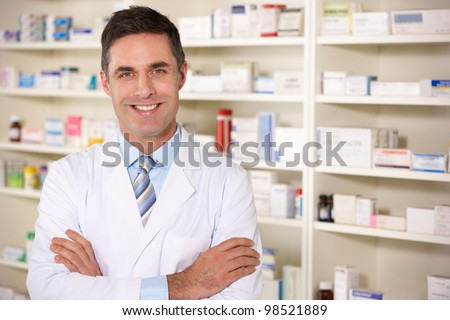Portrait American pharmacist at work - stock photo