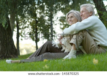 Portrait an elderly couple walking in the autumn park - stock photo