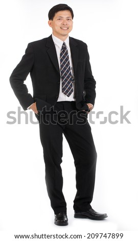 Portrait asian businessman people isolated with white background - stock photo