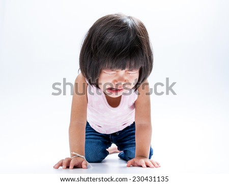 portrait asian girl crying and get on her knee