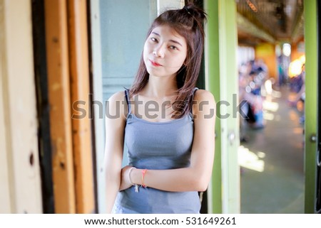 Portrait asian girl with the train