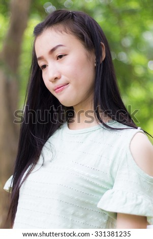 Portrait asian woman outdoors
