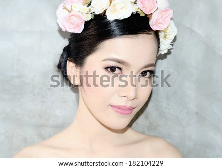 Portrait asian woman with wedding makeup style / Portrait asian woman   - stock photo