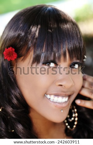 Portrait Attractive African American Woman Smiling Outdoors