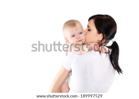 Portrait baby and mom on a white background - stock photo