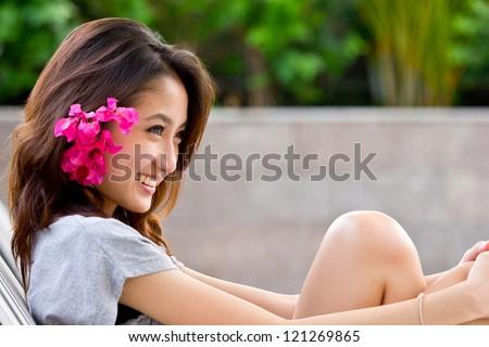 Portrait beautiful Asian Girl - stock photo