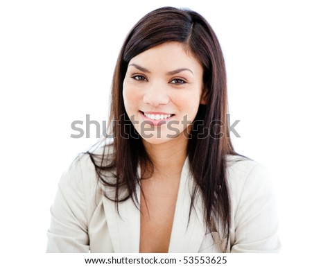 Portrait beautiful businesswoman looking at the camera against a white background