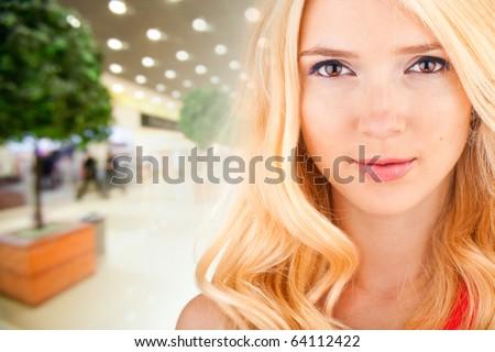 Portrait Beautiful girl in interior of store - stock photo