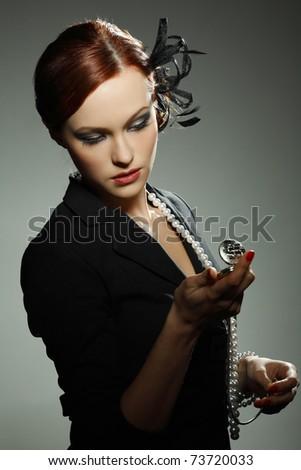 Portrait beautiful  girl in retro style - stock photo