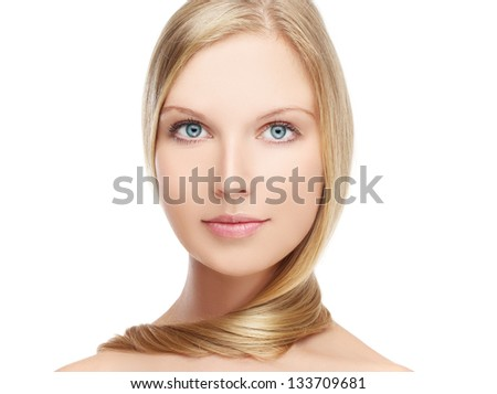 Portrait beautiful girl  looking at camera..White background - stock photo