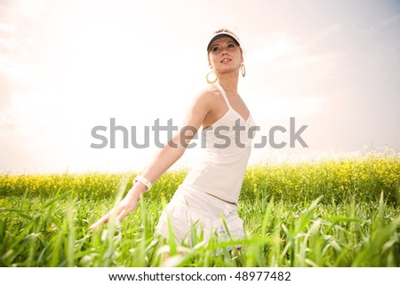 Portrait Beautiful girl with flower. - stock photo