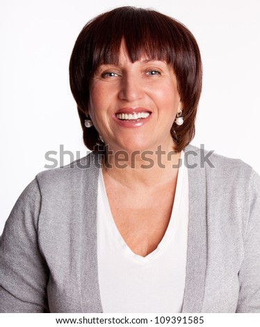 Portrait beautiful happy mature woman - stock photo
