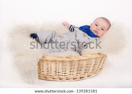 portrait beautiful infant on blanket