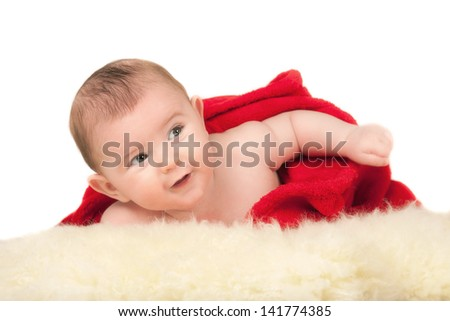 portrait beautiful infant on blanket - stock photo