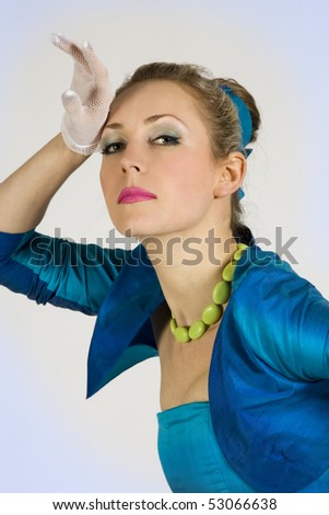 Portrait beautiful  proud lady,Hand near a forehead - stock photo