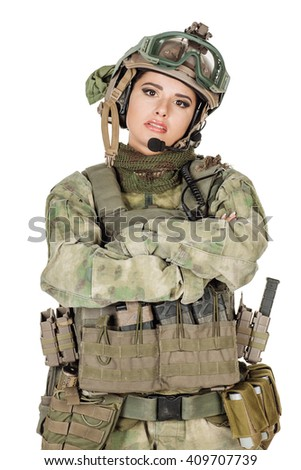 Portrait beautiful soldier or private military contractor with arms crossed. war, army, weapon, technology and people concept. Image on a white background.