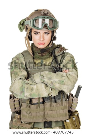 Portrait beautiful soldier or private military contractor with arms crossed. war, army, weapon, technology and people concept. Image on a white background. - stock photo