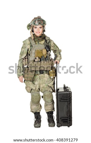 Portrait beautiful soldier or private military contractor with black plastic case. war, army, weapon, technology and people concept. Image on a white background. - stock photo