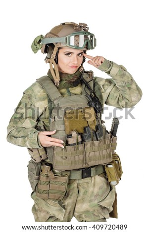 Portrait beautiful soldier or private military contractor with her finger against temple asking are you crazy? war, army, weapon, technology and people concept. Image on a white background. - stock photo