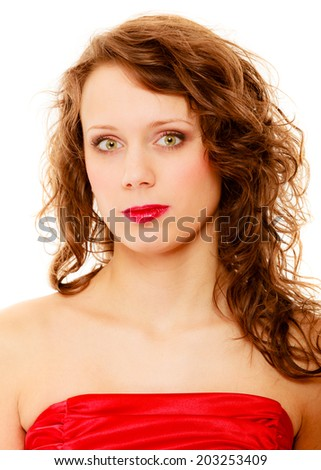 Portrait beautiful young fashion woman teen girl in red dress isolated on white background