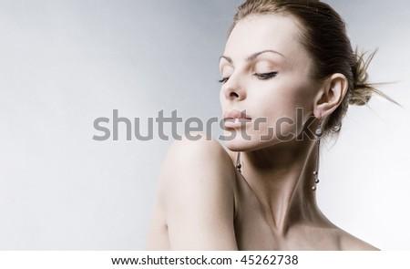 Portrait beautiful young woman - stock photo
