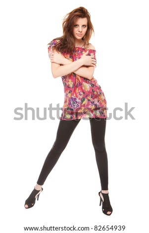 portrait beautiful young woman brunette isolated on white background - stock photo