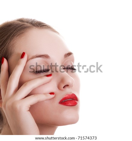 portrait beauty woman with red bright manicure on white background - stock photo