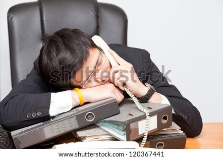 portrait businessman worry in budget. - stock photo