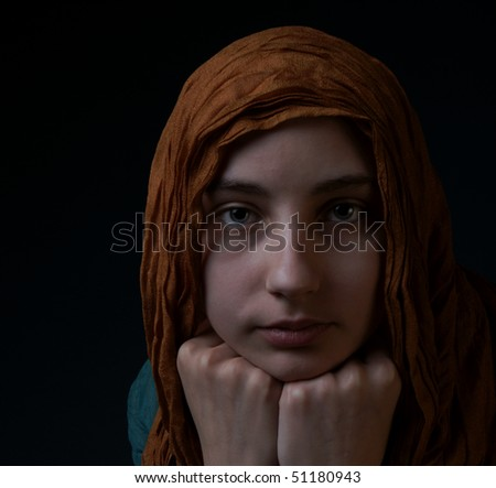 portrait cancer survivor girl in low key - stock photo
