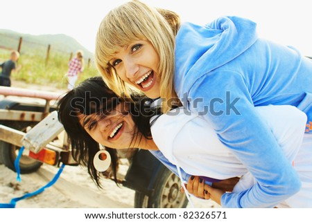 Portrait casual young girl at the outdoor - stock photo