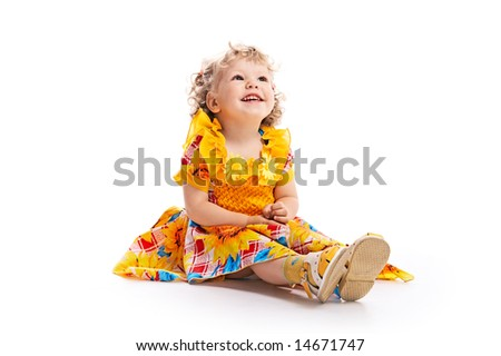 portrait charming child isolated on white background - stock photo