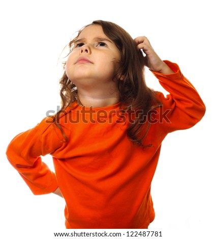 portrait child think scratch confused brunette kid in orange sweater, scratching his head thinking isolated - stock photo