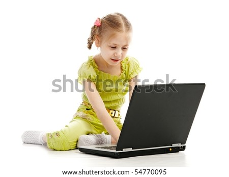 portrait child with laptop isolated on white background - stock photo