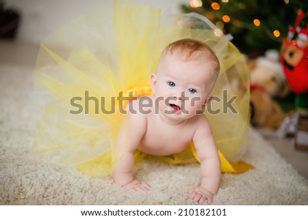 Portrait Christmas baby - stock photo