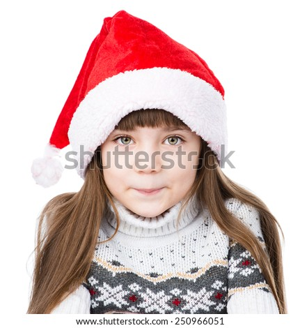 portrait christmas girl in red santa hat. isolated on white background - stock photo