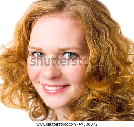 Portrait close-up girl with red hair and freckles, isolated on white background