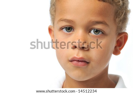 Portrait close up of boy isolated on white - stock photo