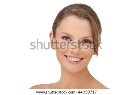 Portrait close up of the young woman of the European type with blue eyes, on a white background - stock photo