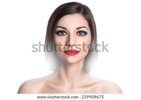 Portrait close-up of very beautiful perfect woman with bright make up, red velvet lipstick, necked shoulders, pretty face, stylish hair do, smoky eyes Clean white wall photo studio background isolated - stock photo