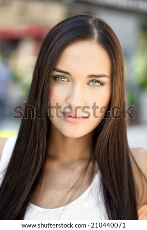 Portrait close up of young beautiful woman