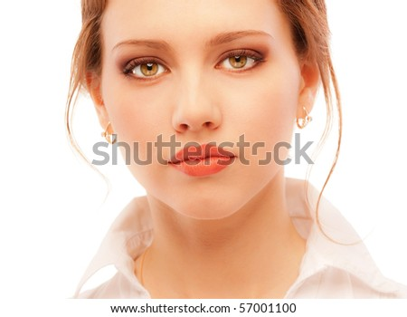Portrait close up of young woman, isolated on white background. - stock photo
