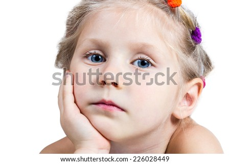 Portrait closeup a sad girl with blue eyes that leaned on his palm on a white background - stock photo
