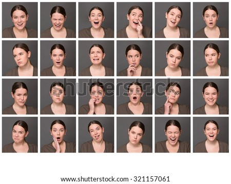 Portrait collage of girl with different facial expressions. Set of different pictures of emotional woman isolated on grey background.