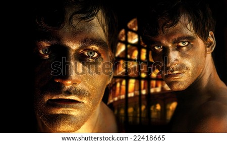 Portrait composite of young man in bronzed golden makeup as a gladiator with the Coloseum behind him - stock photo