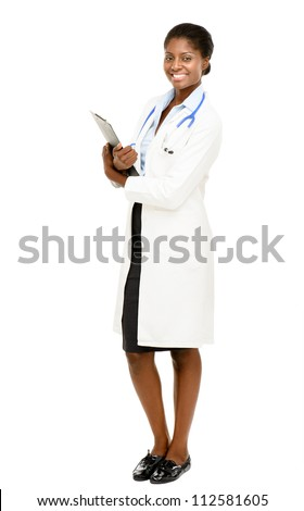 Portrait confident African American female doctor full length isolated on white background - stock photo