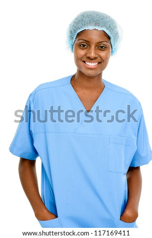 Portrait confident African American female doctor white background - stock photo