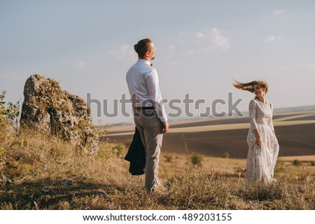Portrait couples,  tenderness love nature, mountains