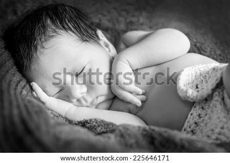 portrait cute newborn baby sleeping on blanket ( black and white )