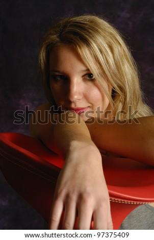 Portrait d'une jeune femme blonde sexy - stock photo